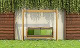 wooden swing a garden