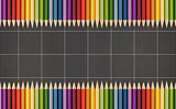 Blackboard  with colorful pencils