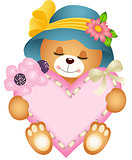 Cute teddy bear girl with heart