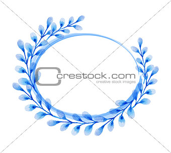 Watercolor blue floral frame