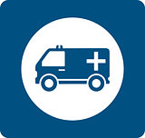 blue medicine ambulance icon