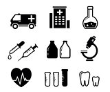 set icons for medicine industry