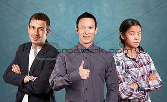 Asian team and Businessman In Suit