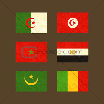 Flags of Algeria, Tunisia, Morocco, Egypt, Mauritania and Mali