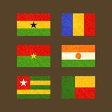 Flags of Ghana, Chad, Burkina Faso, Niger, Togo and Benin