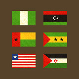 Flags of Nigeria, Libya, Guinea-Bissau, Sao Tome and Pri­ncipe, Liberia and Western Sahara