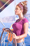 Beautiful woman sailing