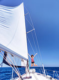 Having fun on sailboat