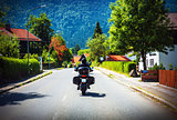Motorcyclist touring along Austria