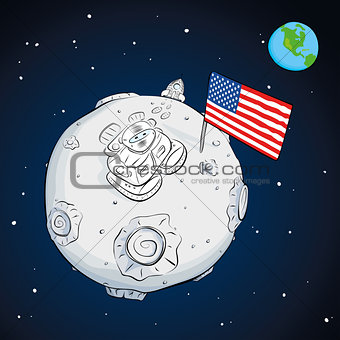 astronaut whith flag USA on the moon color