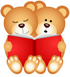 Teddy bears reading a book