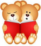 Teddy bears reading a book