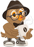 Hipster owl hat and sunglasses drinking hot coffee