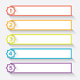 Set of 5 numbered paper style headers with star