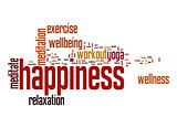 Happiness word cloud with white background