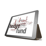 Hedge fund word cloud on tablet
