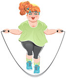 Fat woman skipping rope