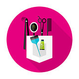 Hair stylist circle icon with long shadow