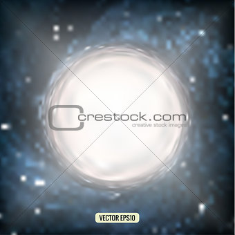 Abstract vector white circle on a blurred background