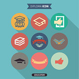 Icons of education and intelligence in Flat Style, logo, vector illustration