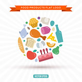 Logo of food and products in the new flat style vector illustration