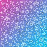 pattern icons line, outline food and products in flat style vector illustration