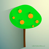 simple stylized orange tree on light background