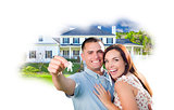 Military Couple with Keys Over House Photo in Cloud