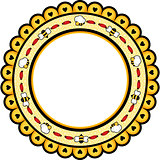 Round frame with bees