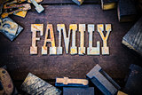 Family Concept Wood and Rusted Metal Letters
