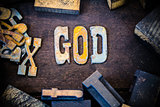 God Concept Wood and Rusted Metal Letters