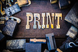 Print Concept Wood and Rusted Metal Letters
