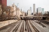 Rairoad Train Tracks Railyards Downtown Chicago Skyline Transpor