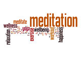 Meditation word cloud with white background