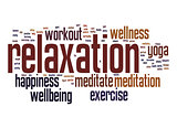 Relaxation word cloud with white background