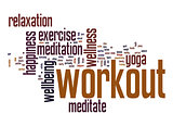 Workout word cloud with white background