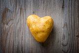 Heart shaped golden potato