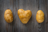 Heart shaped golden potatoes