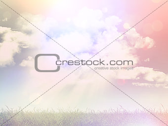 3D grassy landscape with retro effect