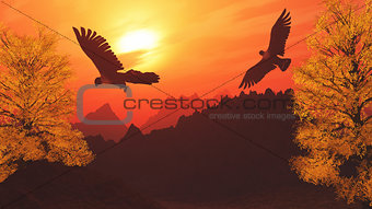 3D mountain landscape with eagles