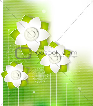 Green paper cutout flower design