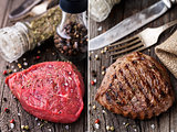 Raw and grilled beefsteak on a wooden board