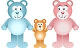 Happy teddy bear family