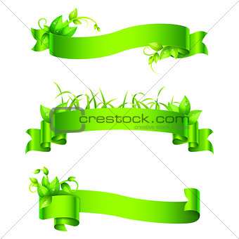 Green Empty Ribbons and Banners