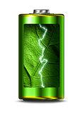 Opened green energy battery power spark