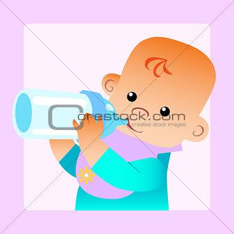 Baby eats food milk bottle