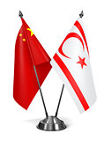 China and Turkish Republic Northern Cyprus - Miniature Flags.