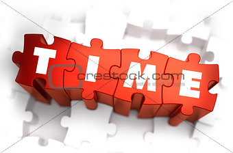 Time - White Word on Red Puzzles.