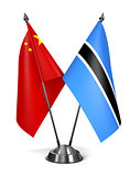 China and Botswana - Miniature Flags.