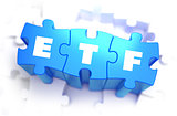 ETF - White Word on Blue Puzzles.